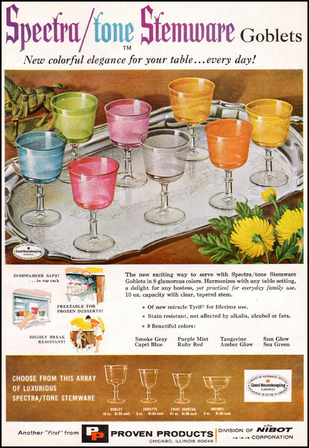 SPECTRA/TONE STEMWARE GOBLETS GOOD HOUSEKEEPING 10/01/1965