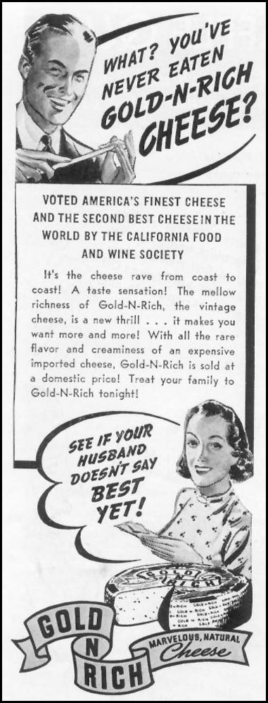 GOLD-N-RICH CHEESE WOMAN'S DAY 03/01/1939 p. 48