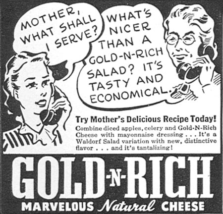 GOLD-N-RICH CHEESE WOMAN'S DAY 05/01/1940 p. 44
