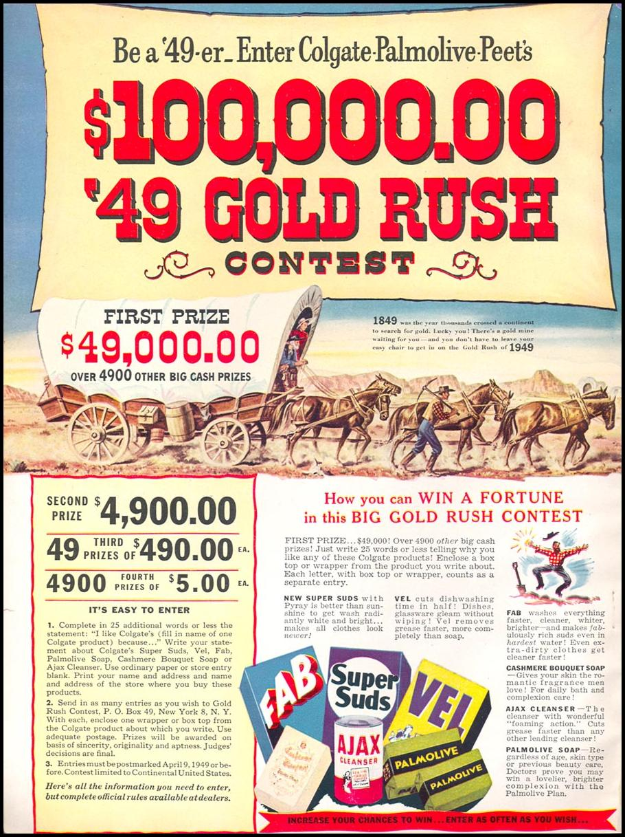 GOLD RUSH CONTEST WOMAN'S DAY 12/01/1949 INSIDE FRONT