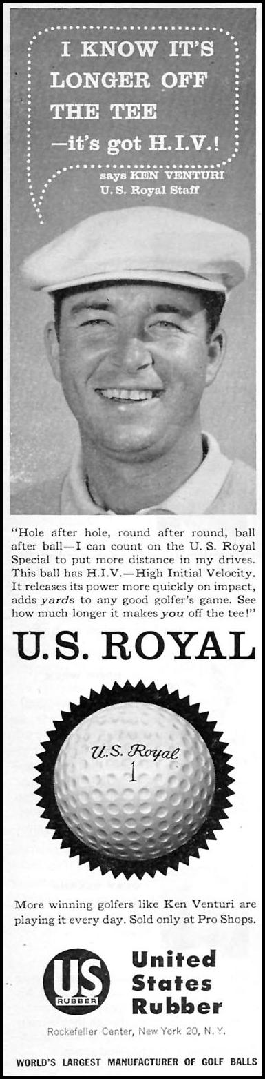 U. S. ROYAL GOLF BALLS SPORTS ILLUSTRATED 01/12/1959 INSIDE FRONT