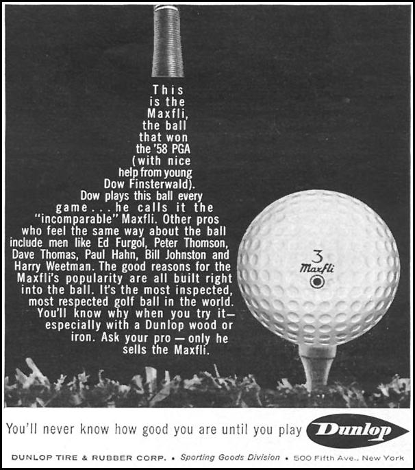 DUNLOP MAXFLI GOLF BALLS SPORTS ILLUSTRATED 04/27/1959 p. 71