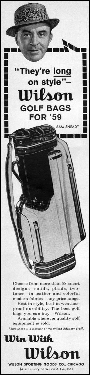 WILSON GOLF BAGS SPORTS ILLUSTRATED 05/11/1959 p. 72