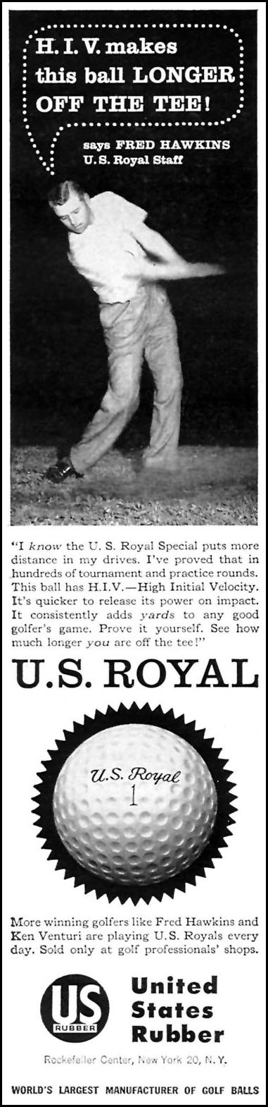 U. S. ROYAL GOLF BALLS SPORTS ILLUSTRATED 05/25/1959 p. 70