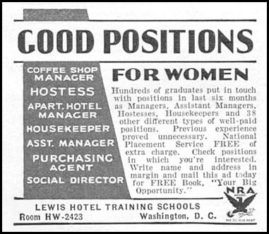 LEWIS HOTEL TRAINING SCHOOLS GOOD HOUSEKEEPING 12/01/1934 p. 195