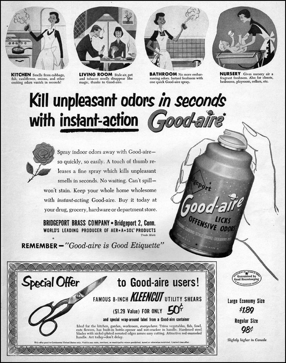 GOOD-AIRE AER-A-SOL KITCHEN DEODORIZER LIFE 10/01/1951 p. 109