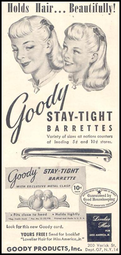 GOODY STAY-TIGHT BARRETTES GOOD HOUSEKEEPING 07/01/1949 p. 181