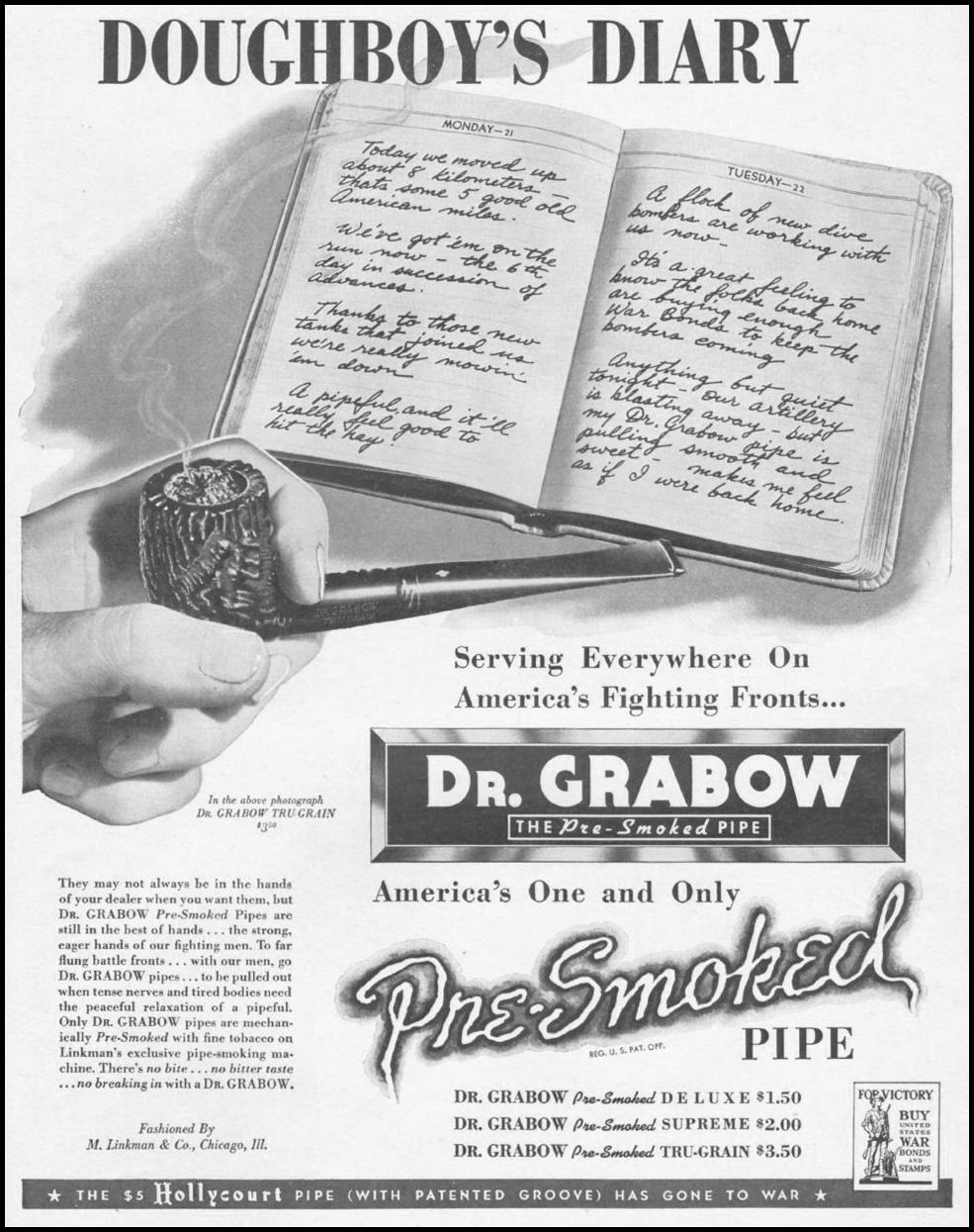 DR. GRABOW PRE-SMOKED PIPES LIFE 10/25/1943 p. 87