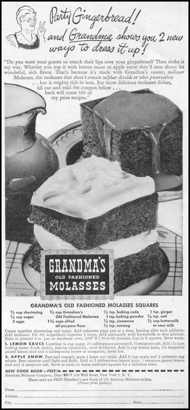 GRANDMA'S OLD FASHIONED MOLASSES WOMAN'S DAY 11/01/1945 p. 91