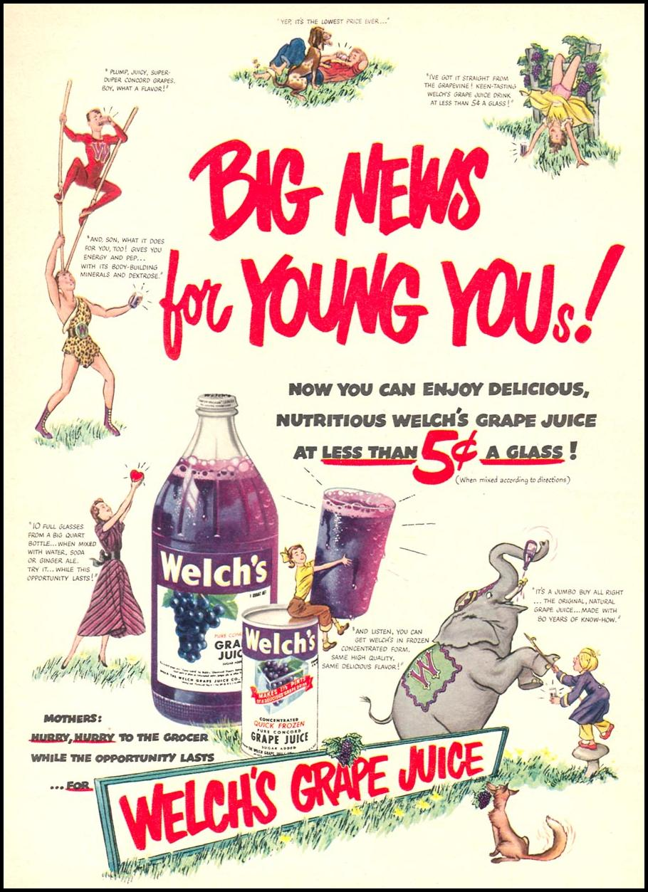 WELCH'S GRAPE JUICE WOMAN'S DAY 08/01/1949 p. 11