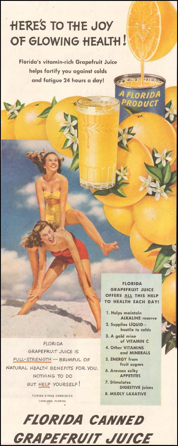 FLORIDA CANNED GRAPEFRUIT JUICE LADIES' HOME JOURNAL 11/01/1950 p. 241