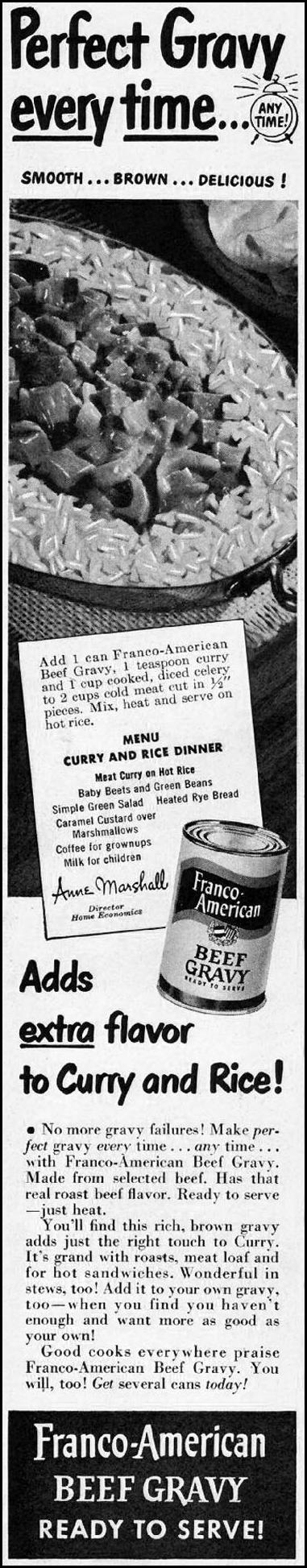 FRANCO-AMERICAN BEEF GRAVY LADIES' HOME JOURNAL 11/01/1950 p. 214
