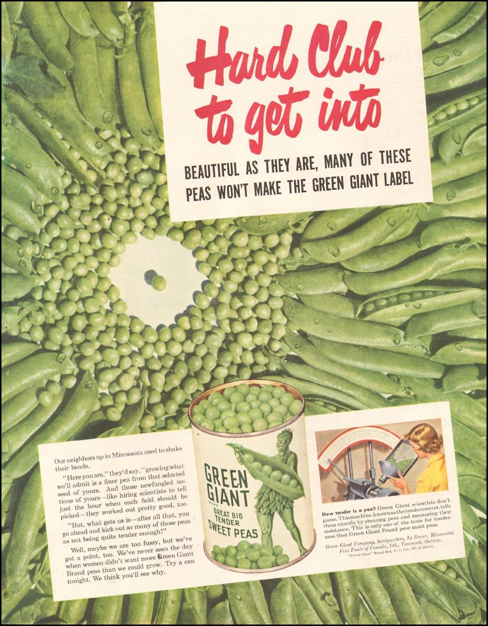 GREEN GIANT SWEET PEAS LADIES' HOME JOURNAL 11/01/1950 p. 213