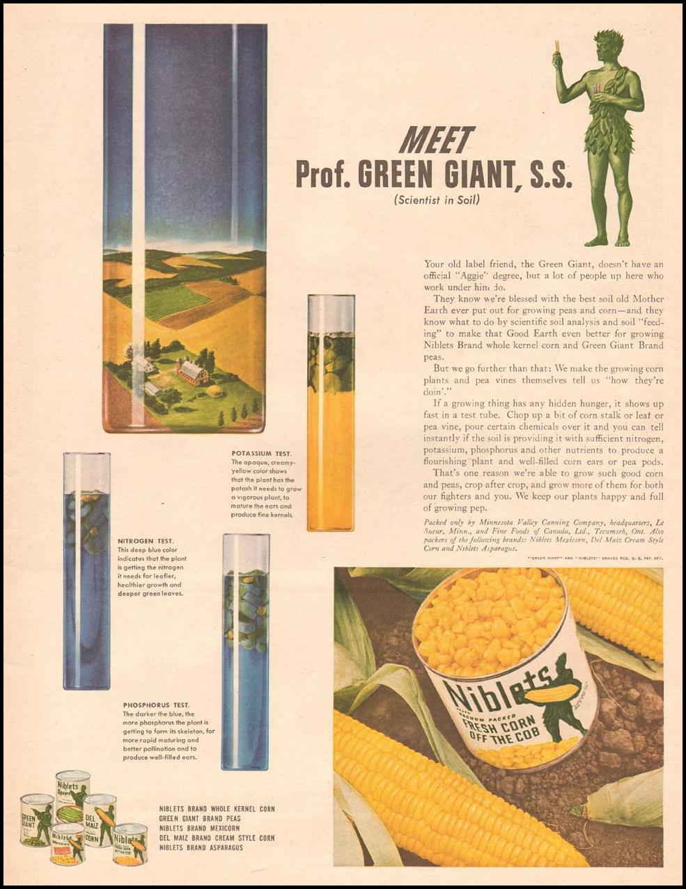 GREEN GIANT CANNED VEGETABLES LIFE 11/13/1944 p. 113