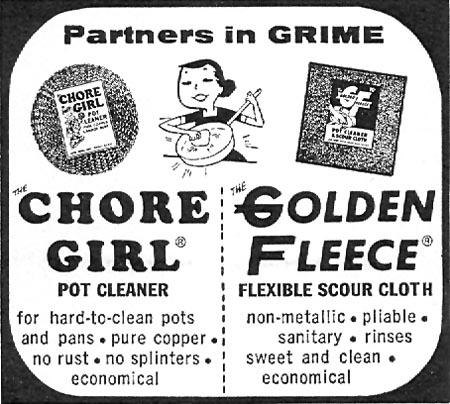 THE GOLDEN FLEECE SCOUR CLOTH FAMILY CIRCLE 11/01/1957 p. 68
