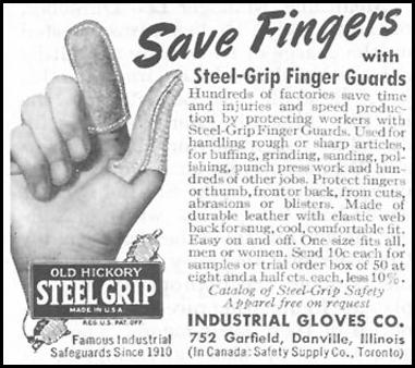 OLD HICKORY STEEL GRIP FINGER GUARDS SATURDAY EVENING POST 10/06/1945 p. 107