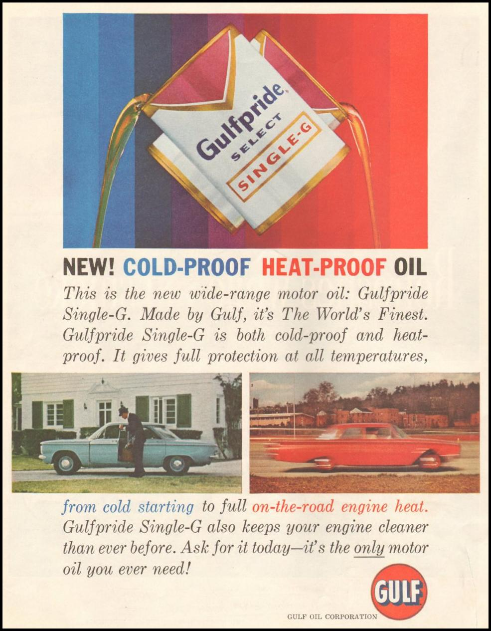 GULFPRIDE MOTOR OIL SATURDAY EVENING POST 06/11/1960 p. 94