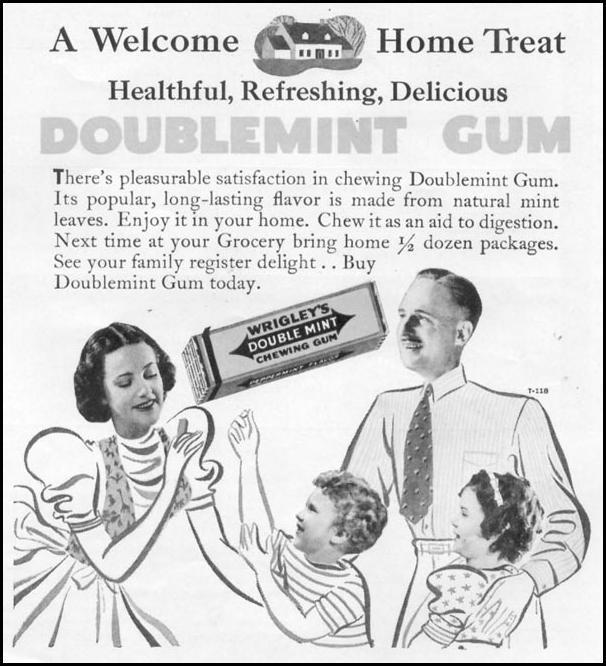 WRIGLEY'S DOUBLEMINT CHEWING GUM WOMAN'S DAY 04/01/1939 p. 36