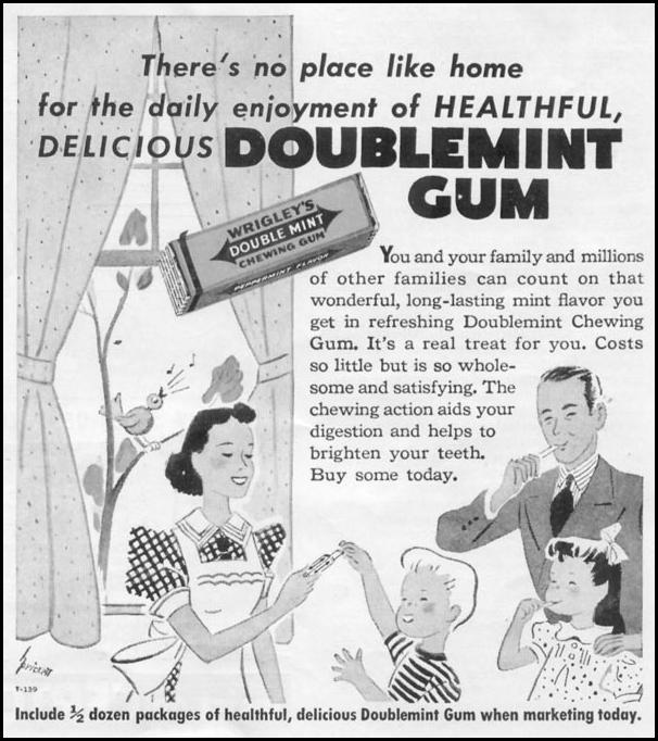 WRIGLEY'S DOUBLEMINT CHEWING GUM WOMAN'S DAY 06/01/1939 p. 42