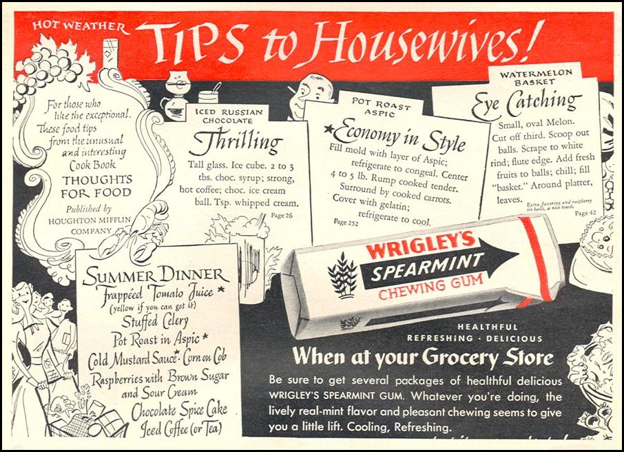 WRIGLEY'S SPEARMINT CHEWING GUM WOMAN'S DAY 08/01/1949 p. 76