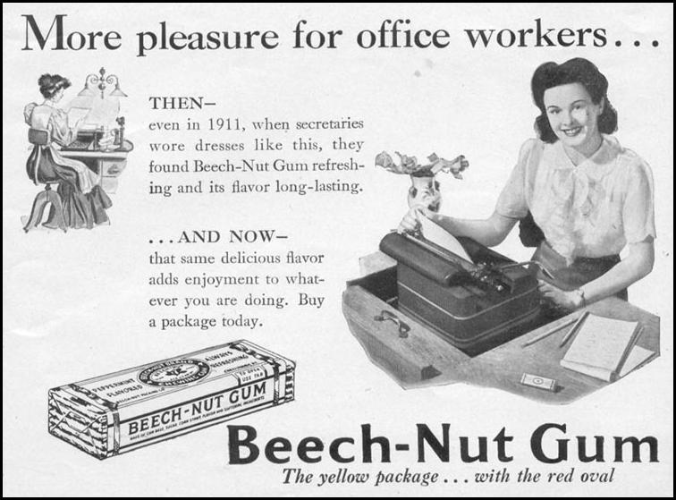 BEECH-NUT CHEWING GUM WOMAN'S DAY 09/01/1942 p. 57