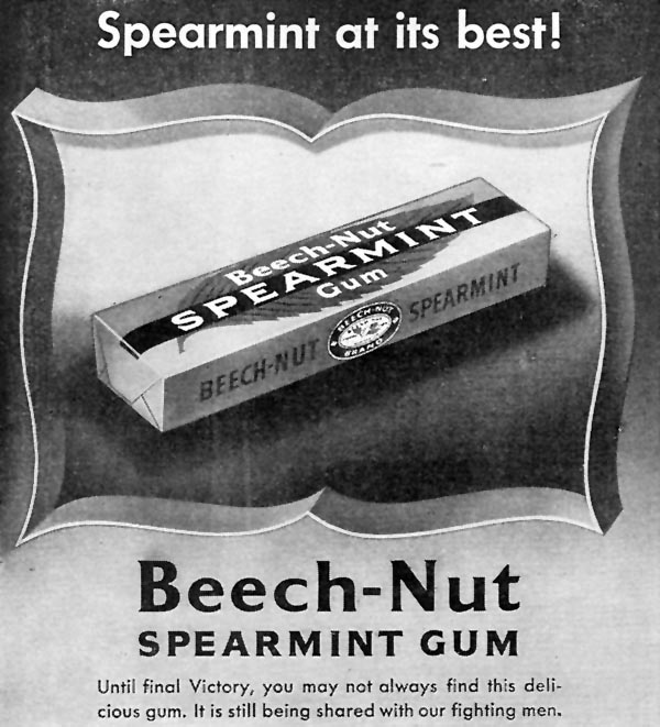 BEECH-NUT CHEWING GUM WOMAN'S DAY 09/01/1945 p. 86