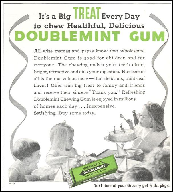 WRIGLEY'S DOUBLEMINT CHEWING GUM WOMAN'S DAY 10/01/1939 p. 38