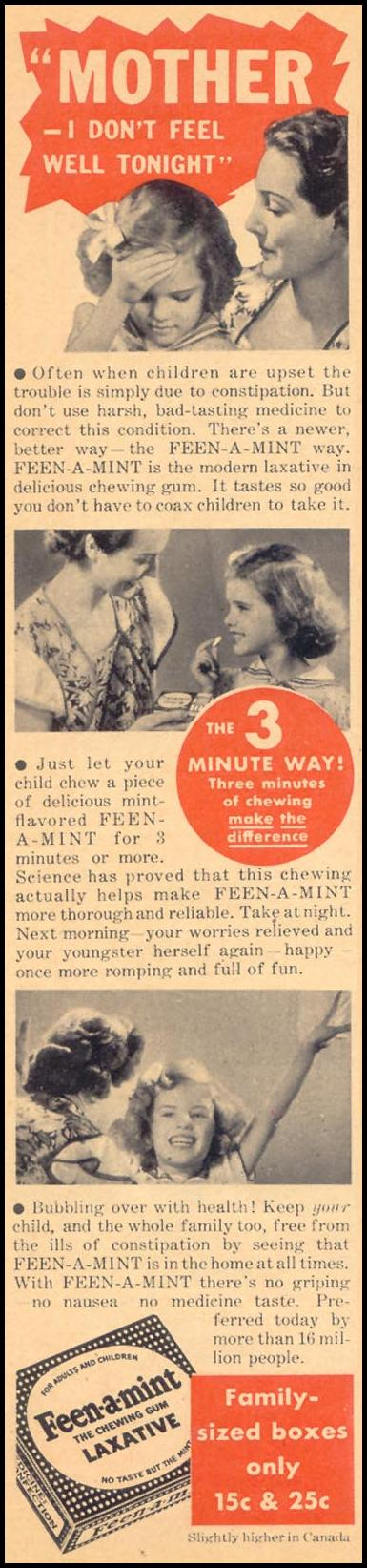 FEEN-A-MINT CHEWING GUM LAXATIVE LIBERTY 11/28/1936 p. 58