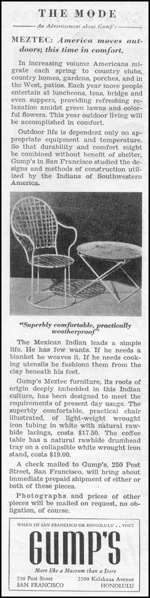 MEZTEC OUTDOOR FURNITURE NEWSWEEK 05/04/1935 p. 28