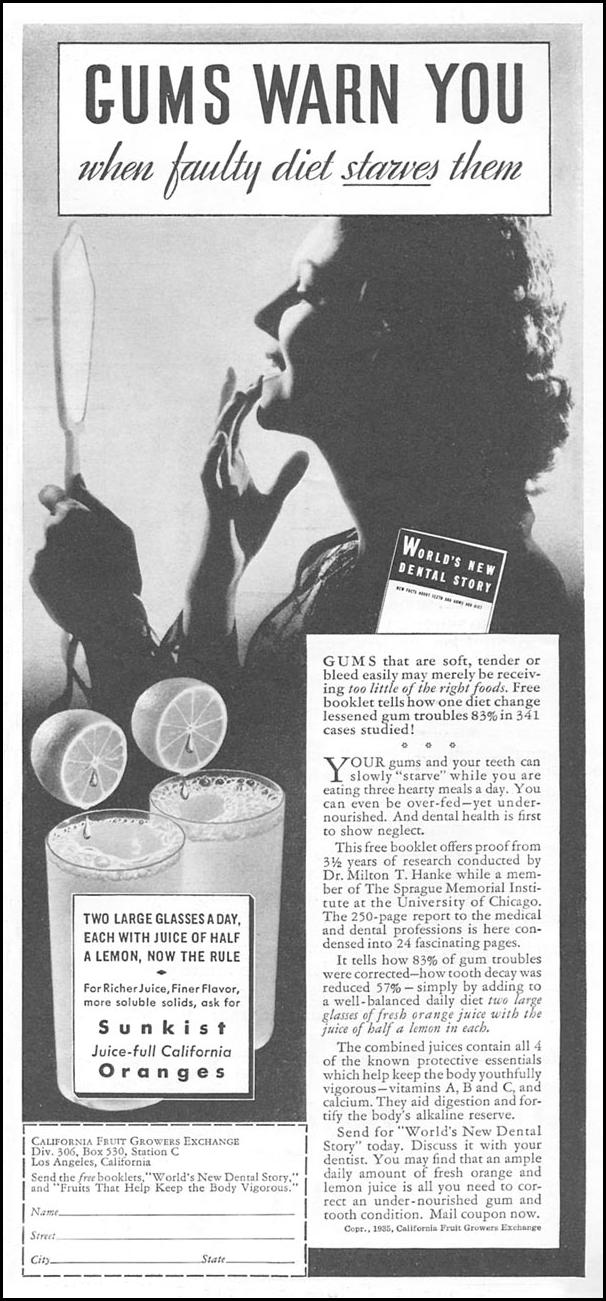 SUNKIST ORANGES AND LEMONS GOOD HOUSEKEEPING 06/01/1935 p. 167