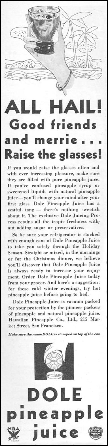 DOLE PINEAPPLE JUICE GOOD HOUSEKEEPING 12/01/1933 p. 106