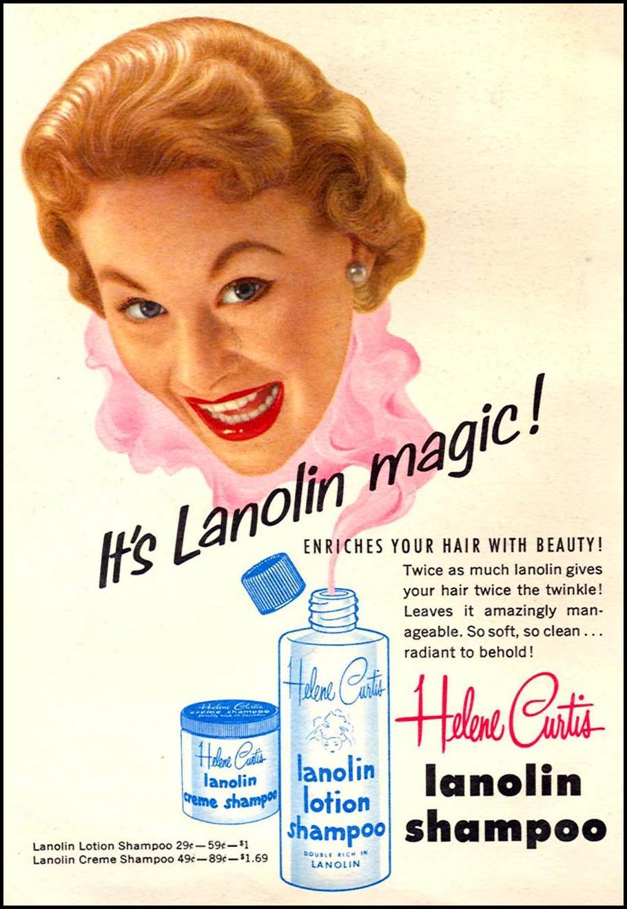 HELENE CURTIS LANOLIN SHAMPOO CORONET 07/01/1954 INSIDE FRONT