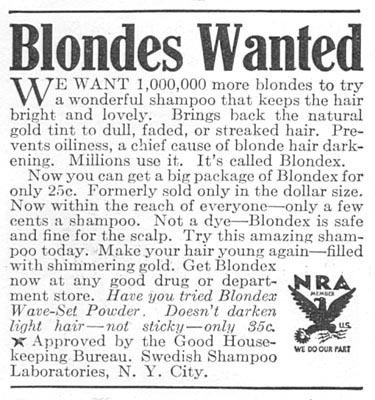 BLONDEX SHAMPOO GOOD HOUSEKEEPING 12/01/1933 p. 181