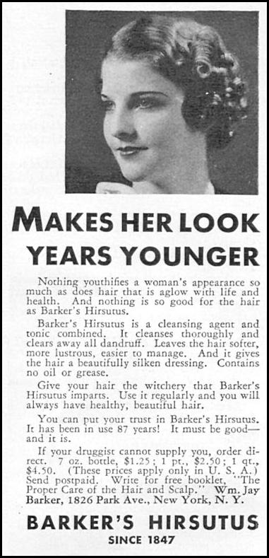 BARKER'S HIRSUTUS GOOD HOUSEKEEPING 12/01/1934 p. 192