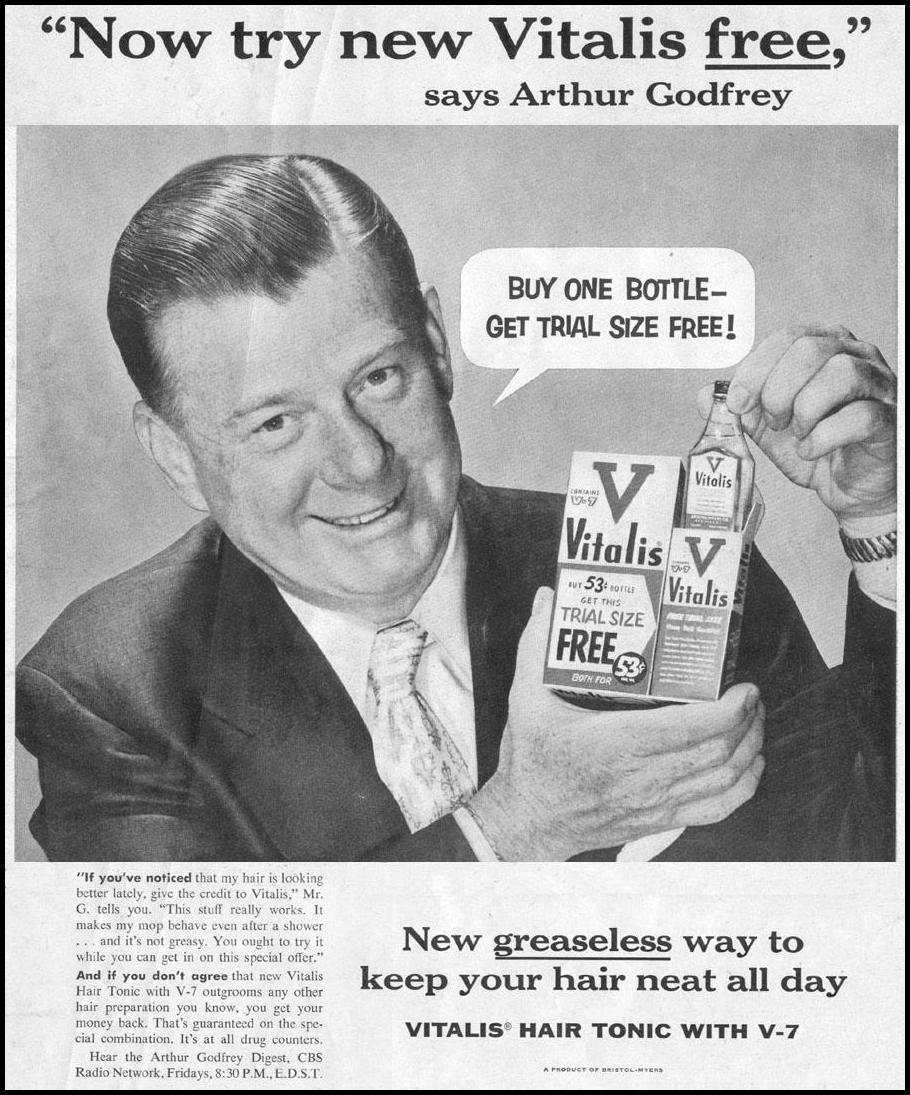 VITALIS HAIR TONIC LIFE 07/12/1954 p. 1