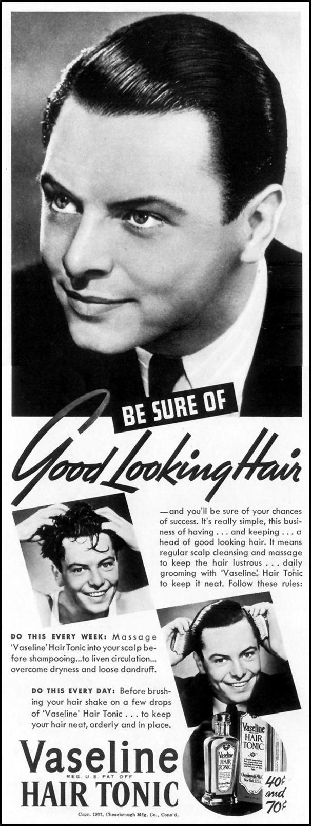 VASELINE HAIR TONIC LIFE 10/04/1937 p. 72
