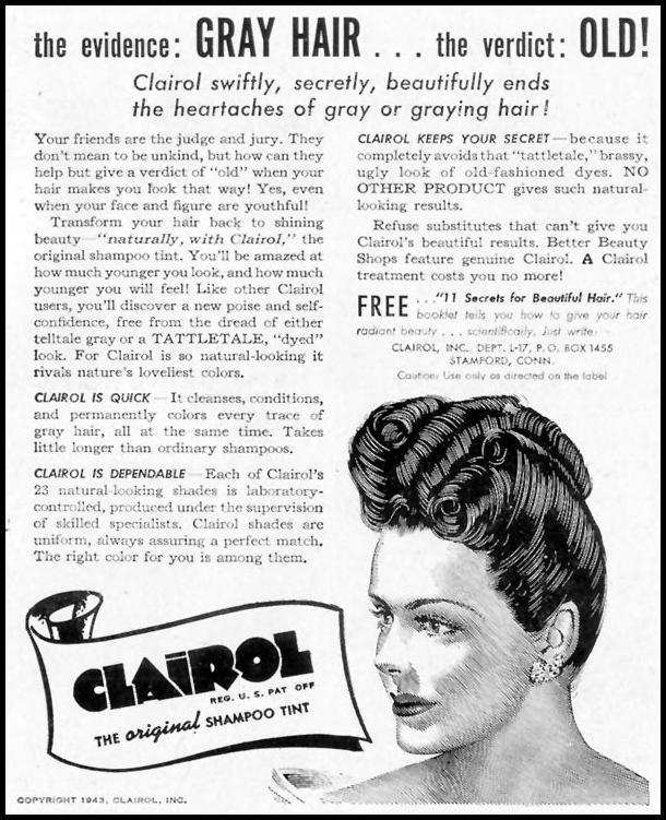 CLAIROL SHAMPOO HAIR TINT LIFE 11/08/1943 p. 121