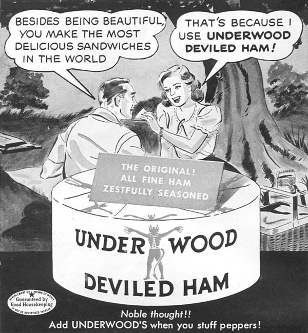 UNDERWOOD DEVILED HAM WOMAN'S DAY 06/01/1950 p. 104