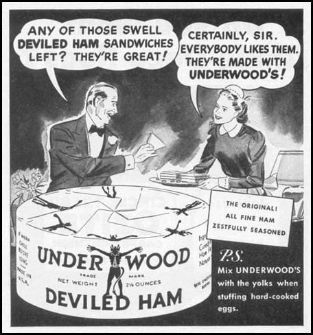 UNDERWOOD DEVILED HAM WOMAN'S DAY 10/01/1949 p. 98