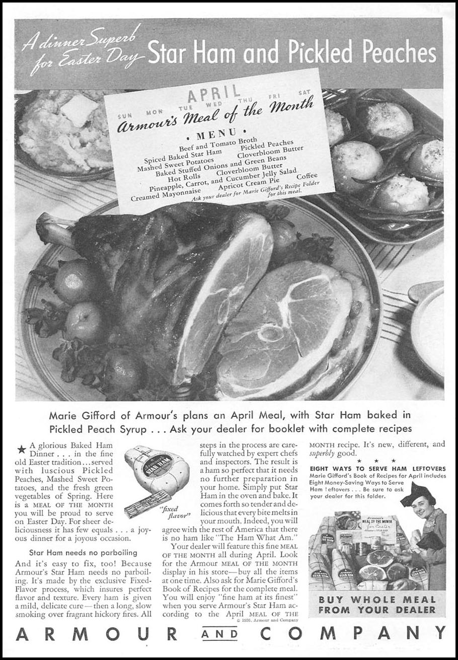 ARMOUR STAR HAM GOOD HOUSEKEEPING 04/01/1936 p. 127