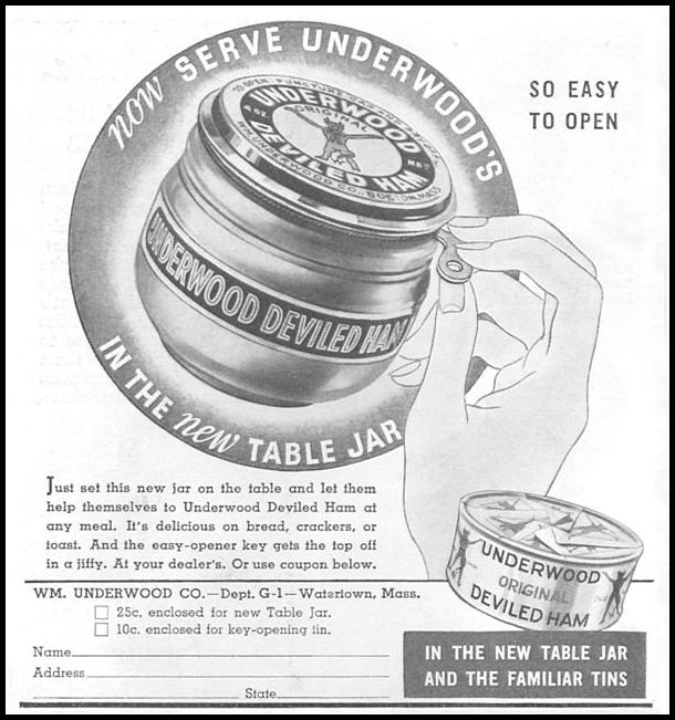UNDERWOOD DEVILED HAM GOOD HOUSEKEEPING 04/01/1936 p. 224