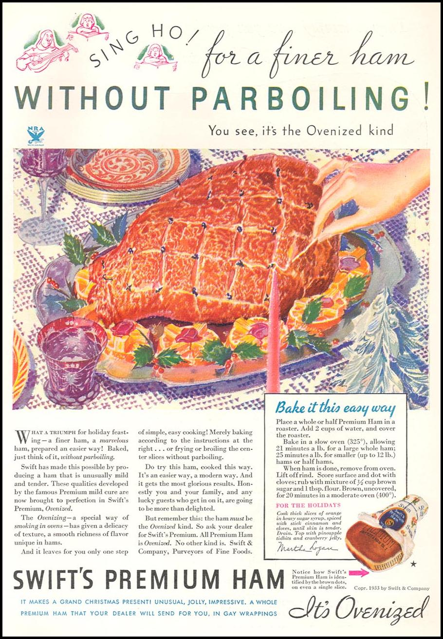 SWIFT'S PREMIUM HAM GOOD HOUSEKEEPING 12/01/1933 p. 101