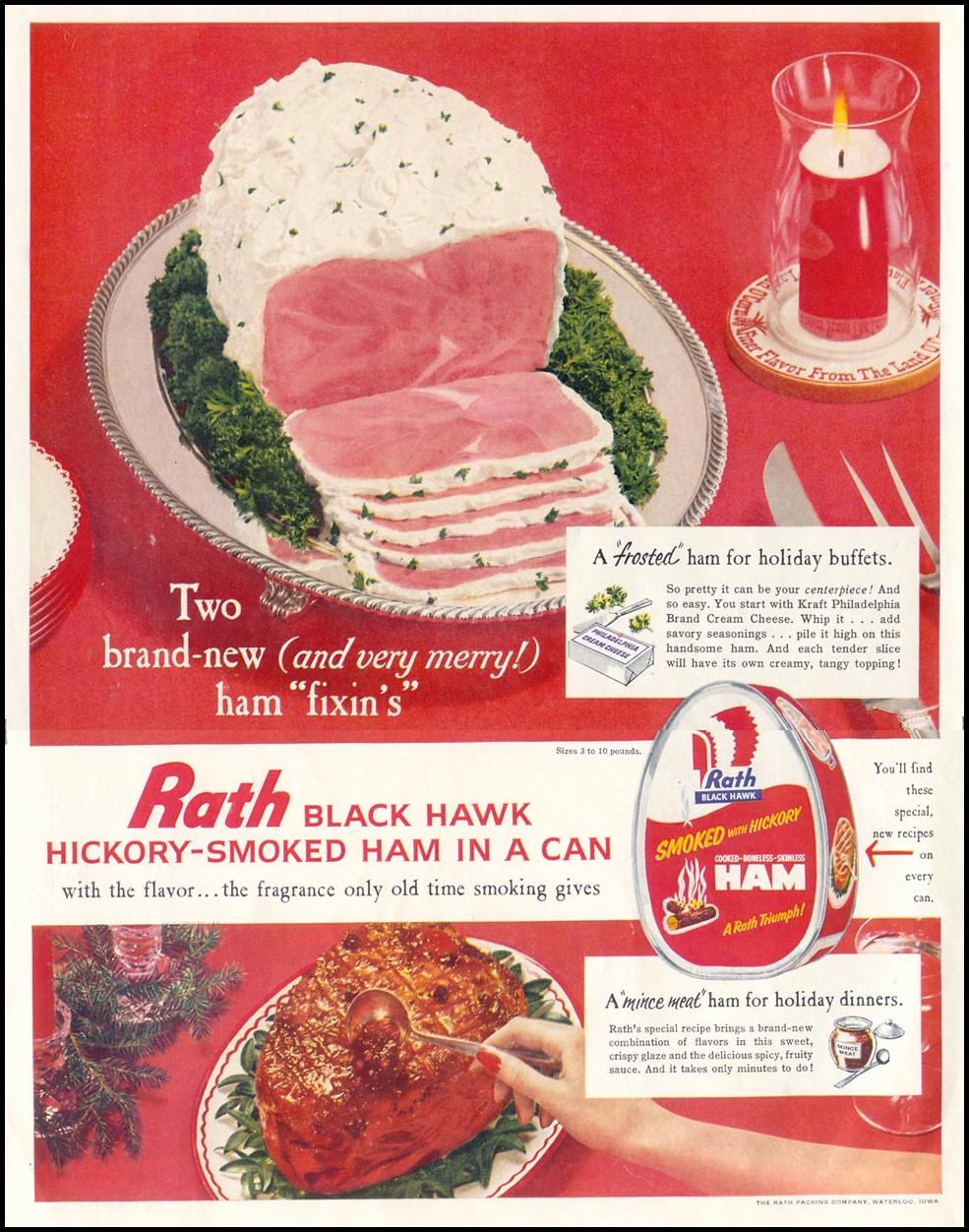 RATH BLACK HAWK HICKORY SMOKED HAM IN A CAN LIFE 12/14/1959 INSIDE FRONT