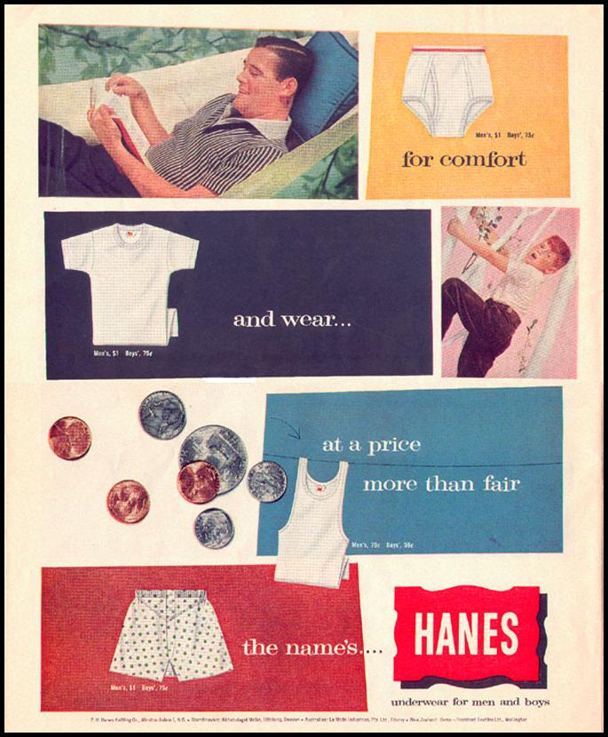 HANES UNDERWEAR FOR MEN AND BOYS LOOK 09/16/1958