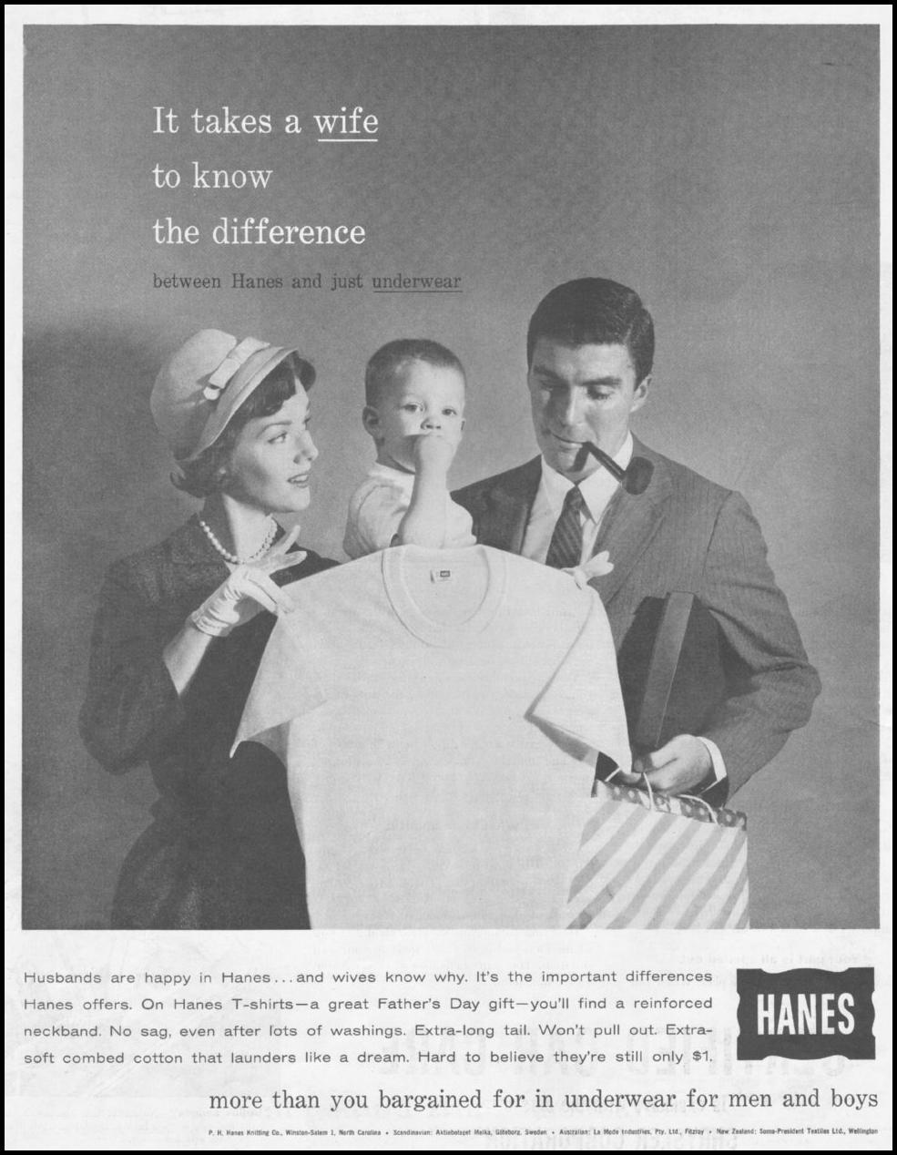 HANES UNDERWEAR SATURDAY EVENING POST 06/11/1960 p. 18