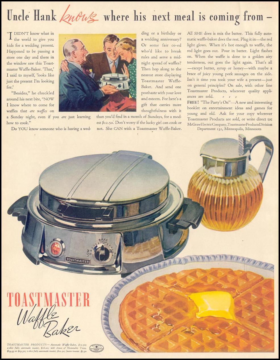 TOASTMASTER WAFFLE BAKER LIFE 10/04/1937