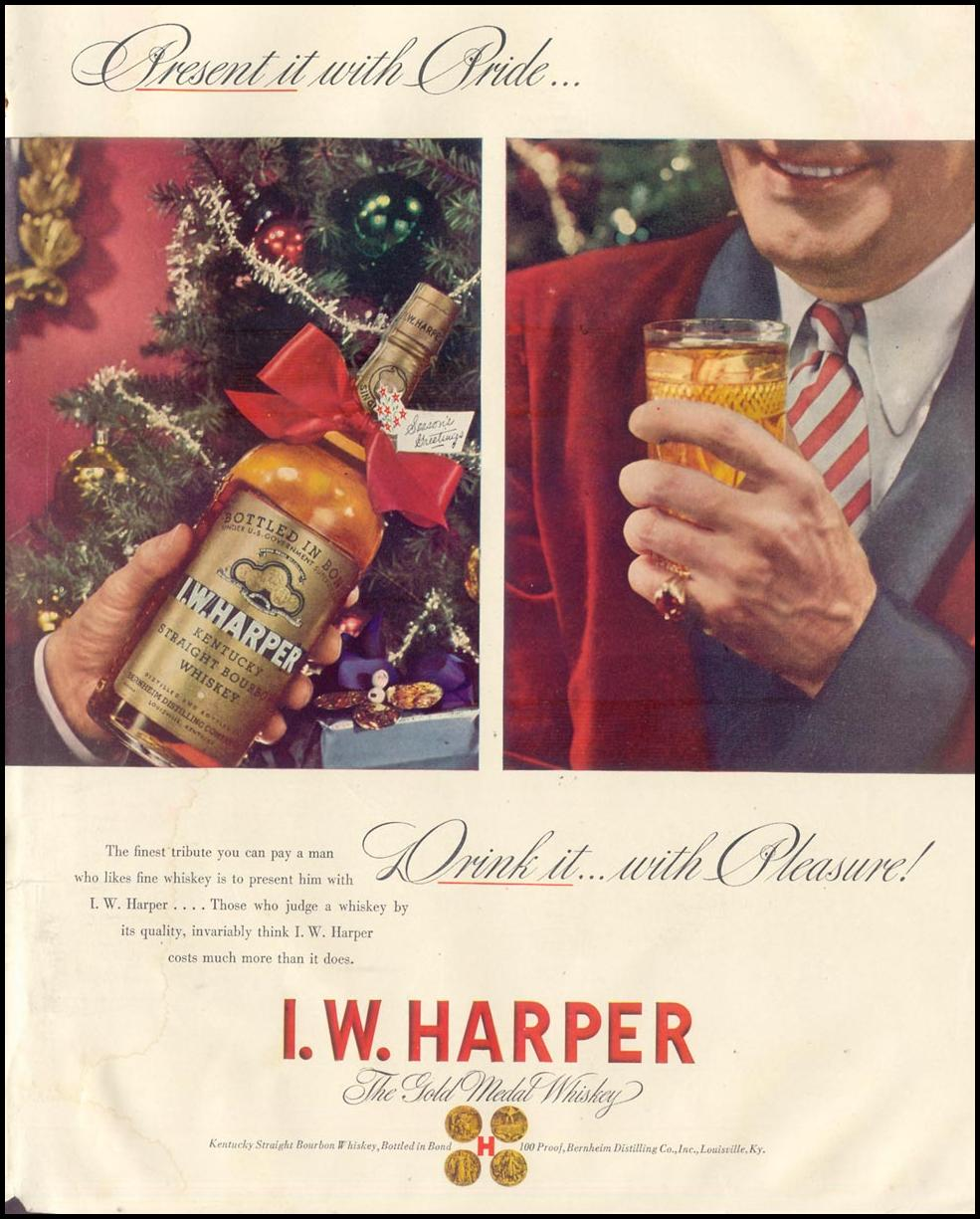 I. W. HARPER GOLD MEDAL WHISKEY LIFE 11/30/1942 INSIDE BACK