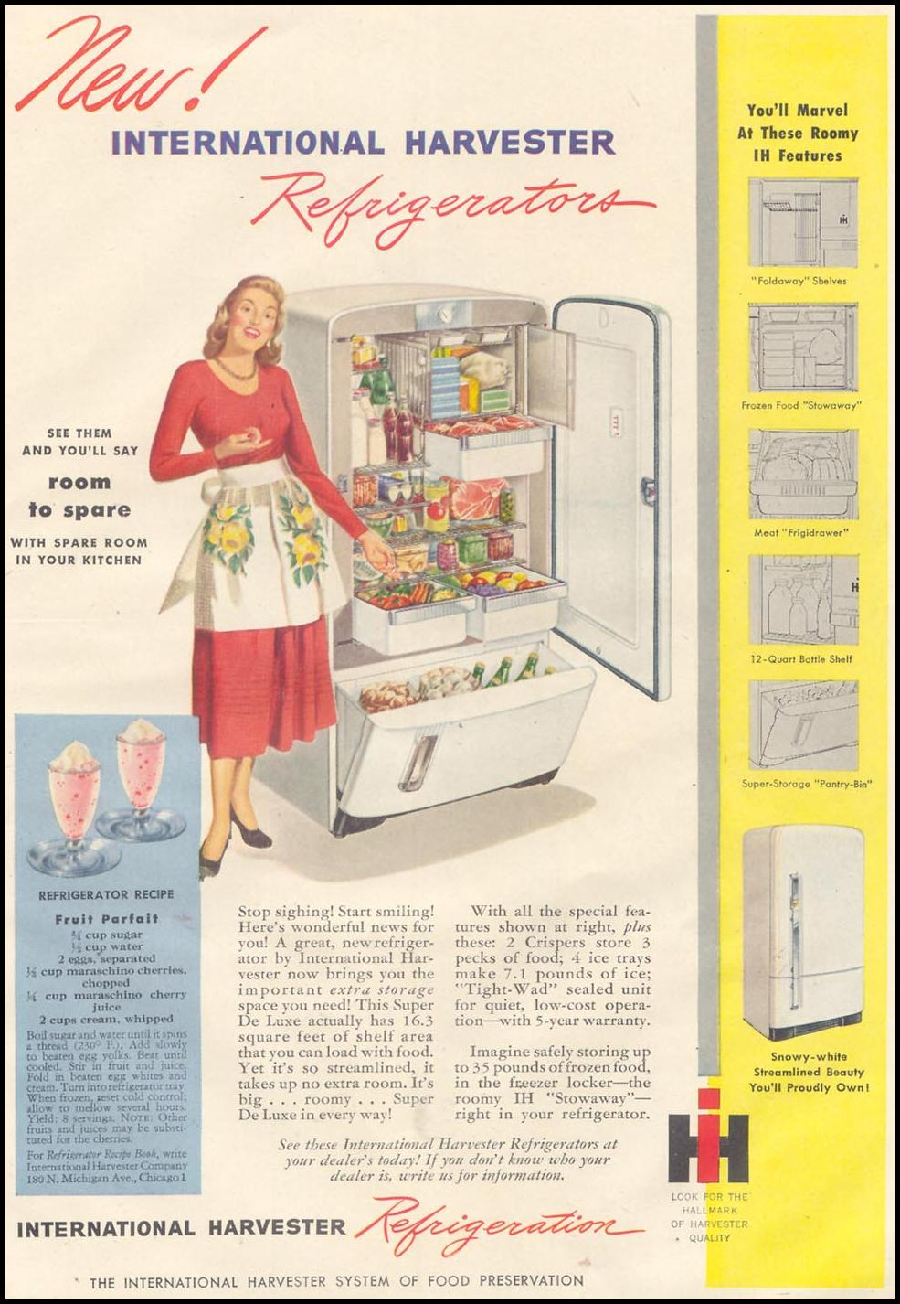 INTERNATIONAL HARVESTER REFRIGERATORS GOOD HOUSEKEEPING 07/01/1948 p. 167