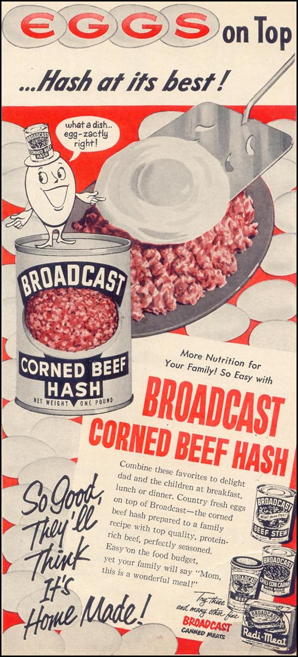 BROADCAST CORNED BEEF HASH WOMAN'S DAY 03/01/1952 p. 168