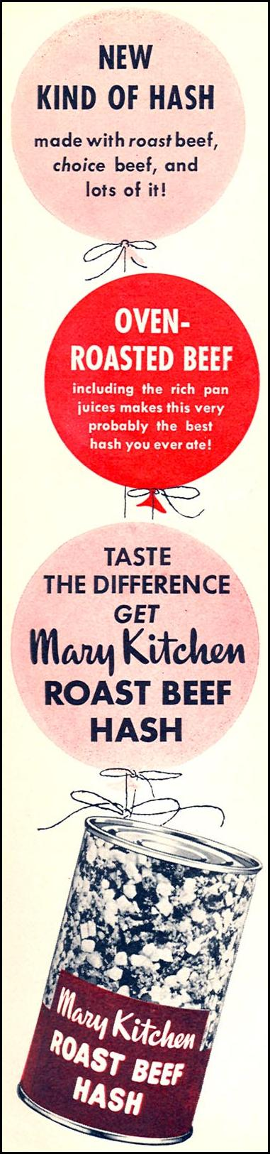 MARY KITCHEN ROAST BEEF HASH WOMAN'S DAY 09/01/1955 p. 14